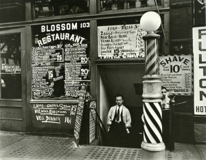 Blossom Restaurant; 103 Bowery by Berenice Abbott in 1935 photograph silver gelatin vintage black and white NYC