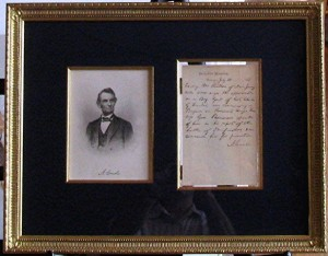 Lincoln letter_​plexiboxes_shadowboxes_memorabilia framing_medals_sports jerseys_​document framing_archival_framing_Demarest