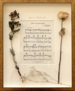 Custom Framing_Bergen County_New Jersey_Shadowbox_dried flowers_sheetmusic_wedding song_music_paper anniversary_Westwood Gallery