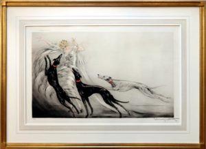 Louis Icart_french matte_Westwood Gallery_art deco frame_custom framing_gold leaf frame_drawing frame_deco_Coursing II