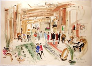 Helen Frank_Lobby Waldorf Astoria_Original painting_NYC_Hotel_Waldorf_Park Avenue_artist_artwork_Westwood Gallery small